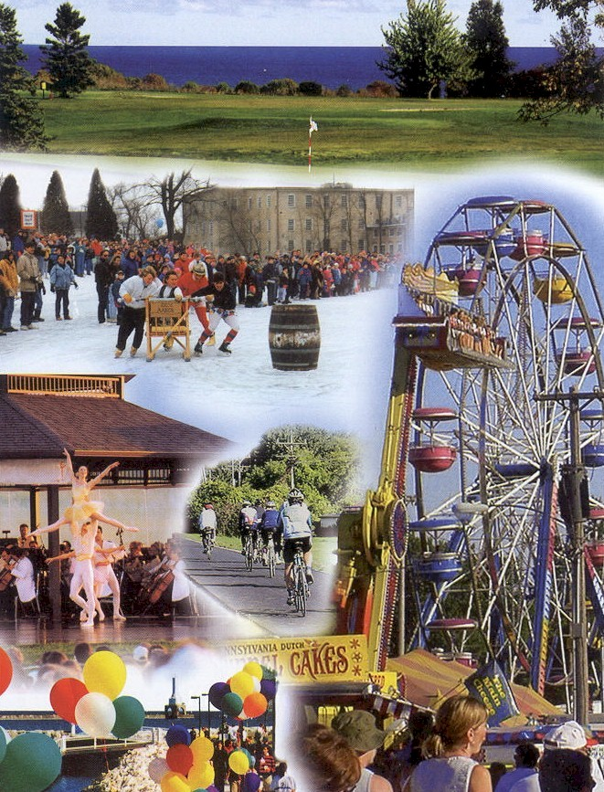 Collaboration of photos with a ferris wheel, bikers, balloons, a ballerina, golf course with lake in