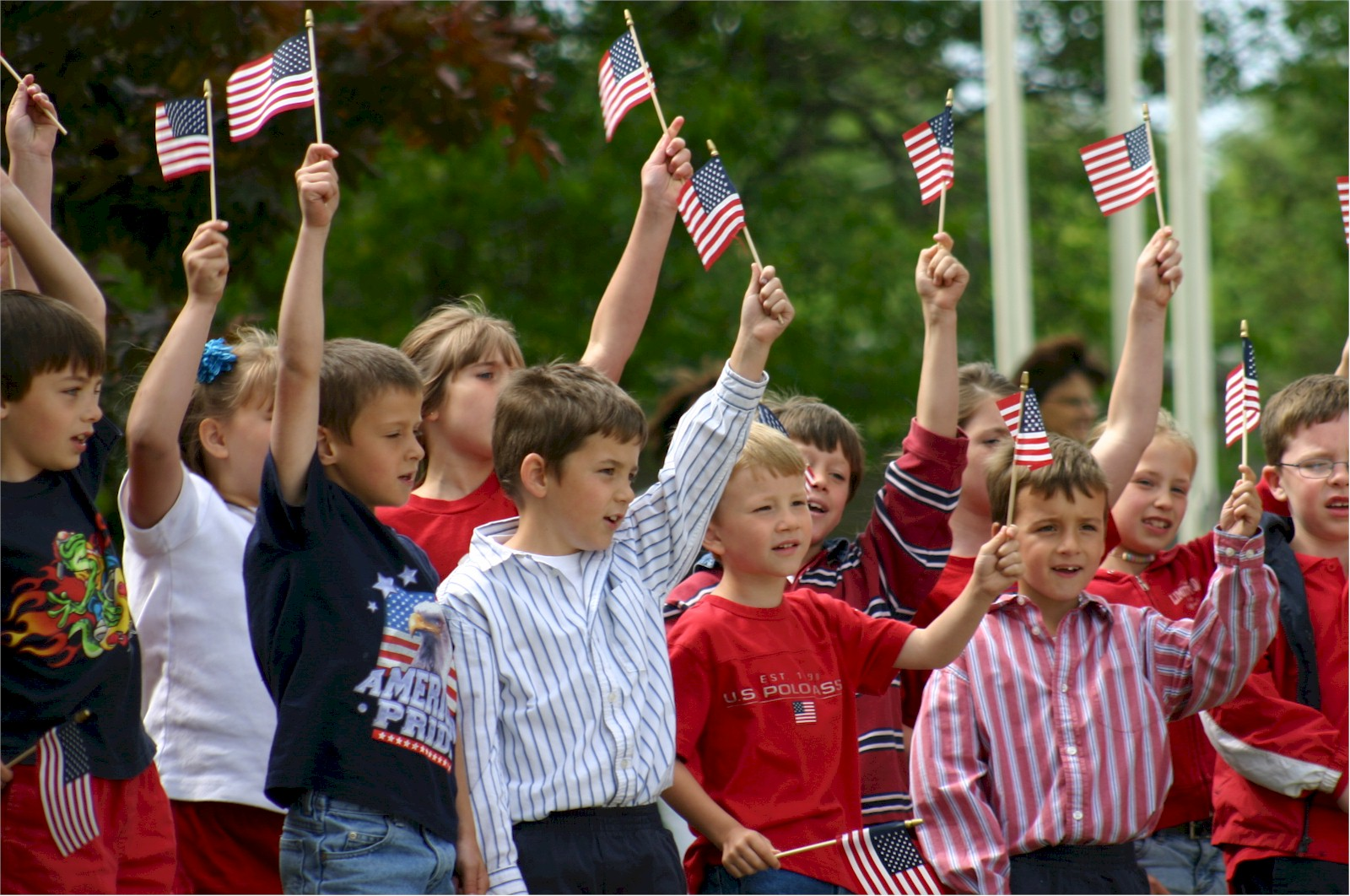 Children with American Flags