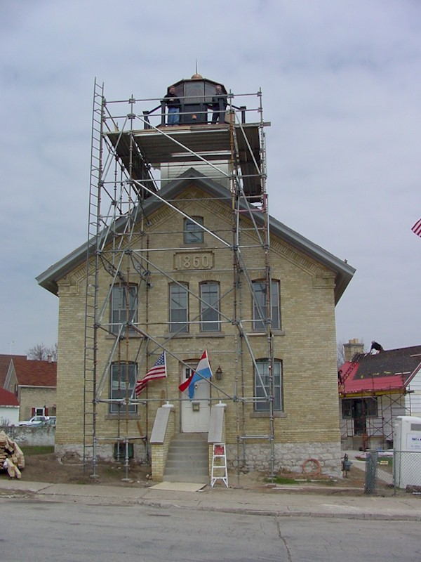 Exterior of the light station with restorations going on.