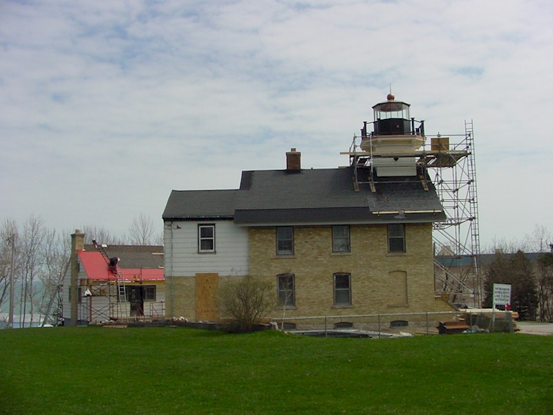 Looking at the exterior of the light station from the right side during restoration.