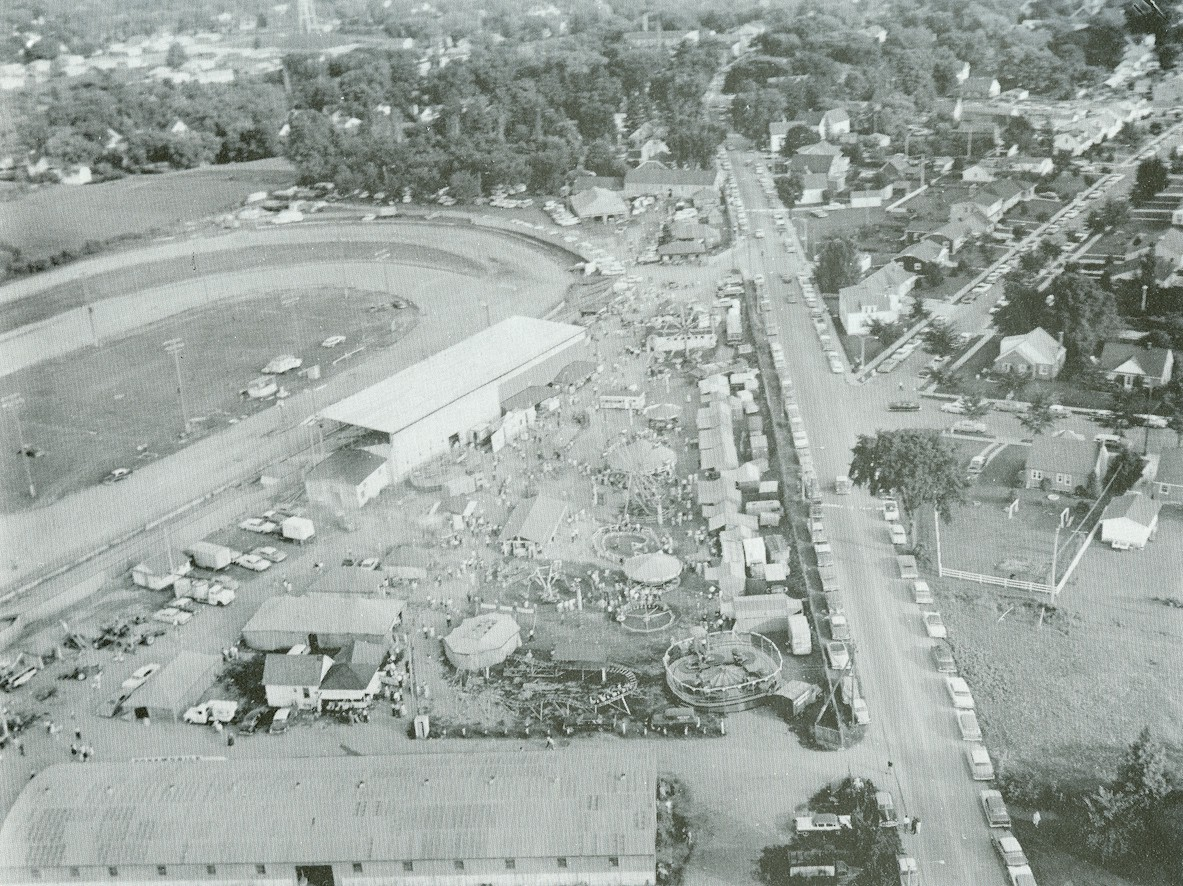 Aerial shot of the county fair.