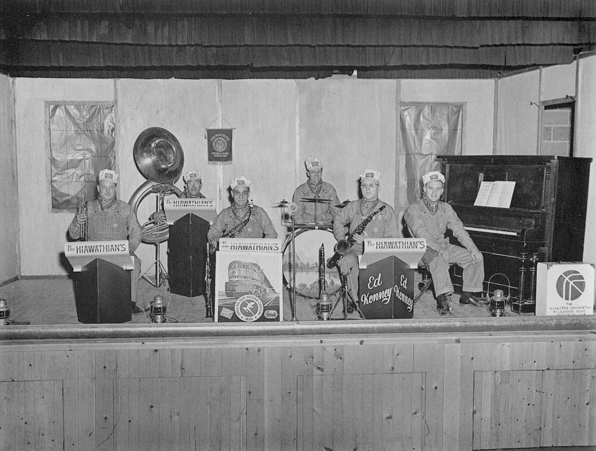 The Hiawathian's Dance Band with their instruments.