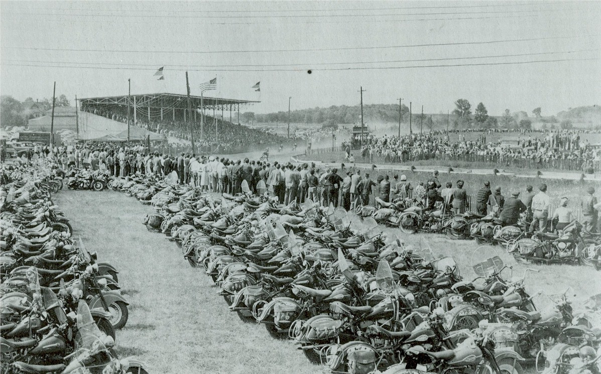 Rows and rows of parked motorcycles during the motorcycle races.